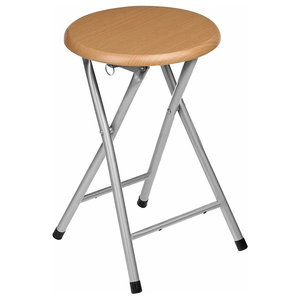 Folding Stool in Natural Rubberwood with Silver Legs and Wooden Veneer Seat