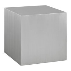 Modern Cube Stainless Steel Side Table Silver