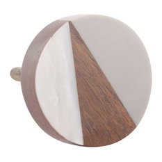Modern Geometric Drawer Knob With Resin And Pearl inlay