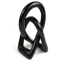"""Natural Soapstone Lover's Knot, Black, 6"""""""