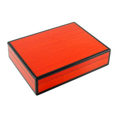 Lacquer Long Stationery Box Box, Red Tulipwood