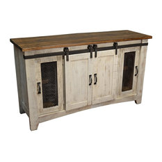Nice Crafters And Weavers Rustic Barn Door Media Console White 70 Entertainment