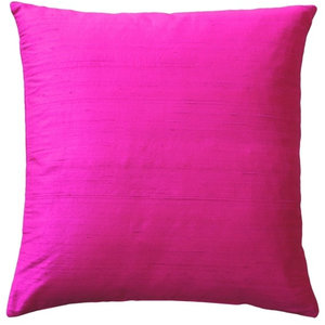 Solid Hot Pink Accent Throw Pillow Cover Contemporary Decorative Pillows By Silver Fern Decor