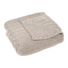 100% Cotton Chevron Blanket by Lavish Home, Chocolate, King
