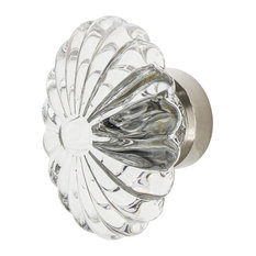 """Oval Fluted Crystal 1 3/4"""" Cabinet Knob in Polished Nickel"""