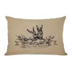 """Welcome Friends Vintage Bunnies"" Indoor Throw Pillow by OneBellaCasa, 14""x20"""