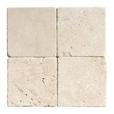 "4""x4"" Ivory Tumbled Rustic Tile"