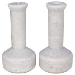 Noir Elias Decorative Black Marble Set Of 2 Candle Holder Yt0717 11bl Contemporary Candleholders By Gwg Outlet