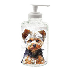 Yorkshire Terrier 'Lupis' 16 Ounce Glass Soap Dispenser