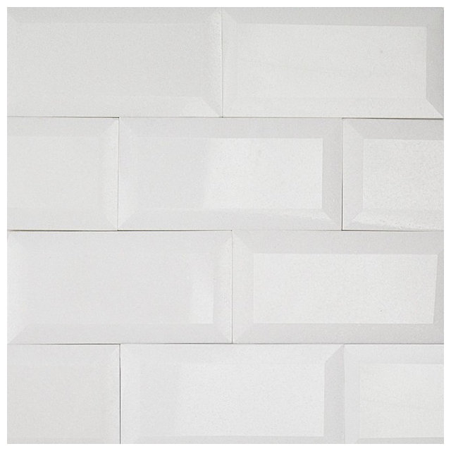 Beveled Edge Subway Backsplash Tile White Gloss