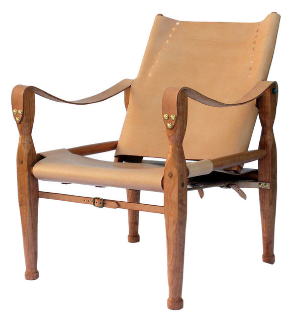 Tan Leather With Cherry Wood Campaign Chair Or Sling Chair