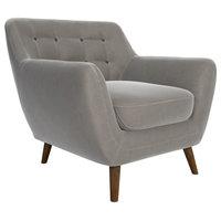 Deryn Armchair, Light Gray Velvet