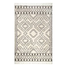 "Moroccan Shag Tribal Chevron Tassel Area Rug, Off-White, 9'2""x12'"