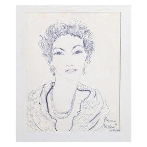 """Dimitrie Berea """"Rose-Marie, 23"""" Ink Drawing"""