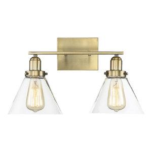 Drake 2 Light Bathroom Vanity Light in Warm Brass