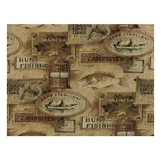 Fishing Lodge Fish Upholstery Fabric