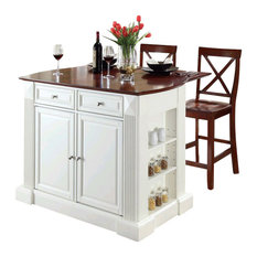 "Drop Leaf Breakfast Bar Top Kitchen Island, White, 24"" Cherry X-Back Stools"