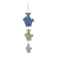 Brimfield May Beach Style Ceramic Fishes Wind Chime Chimes
