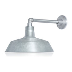 """14in. Barn Light Fixture With Gooseneck Arm, Galvanized, 13"""" Long Straight Arm"""