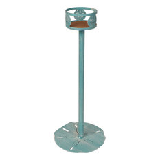 Iron Drink Holder Stand With Sand Dollar Accent Weathered Turquoise Sea