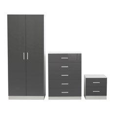 Reflect 3-Piece Bedroom Set, Glossy Grey