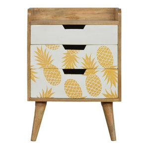 3-Drawer Bedside with Pineapple Screen Printed Drawer Fronts, Oak Finish