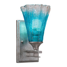 """Uptowne 1 Light Wall Sconce, Aged Silver With 5.5"""" Fluted Teal Crystal Glass"""