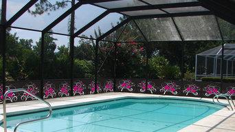 Вольер с навесом из поликарбоната для бассейна и зоны отдыха