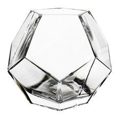"Geometric Faceted Gem Glass Vase, 6"", 1 Piece"