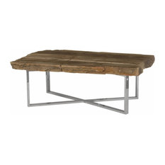50-inchW Coffee Table Petrified Wood Base Stainless Steel