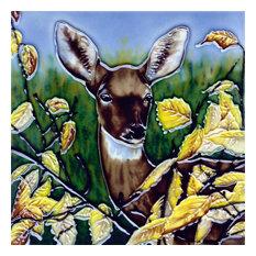 Deer With Bushes Tile
