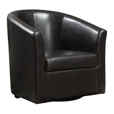 Bowery Hill Faux Leather Swivel Accent Chair in Dark Brown