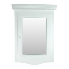 Bethpage Corner Surface Wall Mount Wooden Medicine Cabinet in White with Mirror