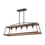 Teagan Linear Pendant, Natural Black With Rustic Oak Wood Accents
