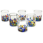NOVICA - Confetti Festival, Set of 6 Blown Glass Juice Glasses, Mexico - Juice glasses feature colorful accents in bright confetti colors. The set of six is handcrafted by Javier and Efren, using glass-blowing techniques perfected over more than thirty years.