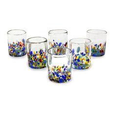 Confetti Festival, Set of 6 Blown Glass Juice Glasses, Mexico
