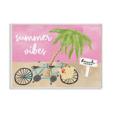 """Summer Vibes Bike Pink Green Beach Ocean Design, 13""""x19"""", Wood Art"""