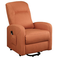 Acme Kasia Recliner With Power Lift In Orange Linen Finish 59459