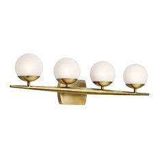 Bath 4-Light Halogen, Natural Brass