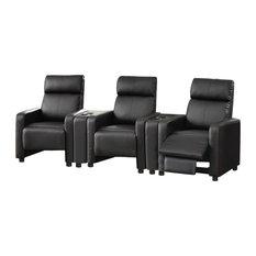 coaster furniture coaster console black theater seating
