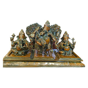 Mogul Interior - Ganesha Ganesh Statue Hand Crafted Brass Musical Ganpati Sculpture - Decorative Objects And Figurines