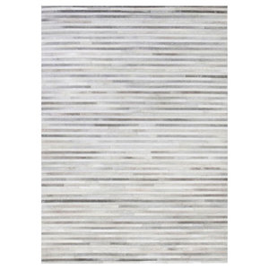 Linie Channel Leather Rug, Light Grey, 140x200 cm