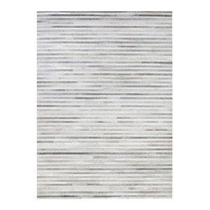 Linie Channel Leather Rug, Light Grey, 140x200 cm