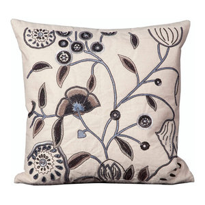 """Mina Victory Luminescence Floral Pillow, Ivory 20""""x20"""""""