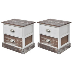 VidaXL Shabby Chic Bedside Cabinets, Brown and White, Set of 2