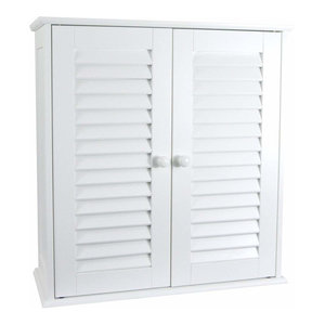 Shutter Wall Mounted Bathroom Cabinet in Wood With Double Door, White