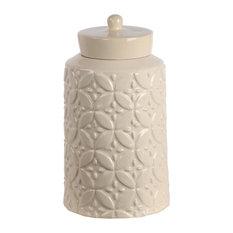 Privilege Large Ceramic Jar With Lid, Cream Finish