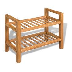 vidaXL Solid Oak 2 Tier Shoe Rack Slated Brown Wood Footwear Storage Unit Shelf