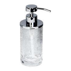 MV Crackled Glass Stainless Steel Standing Pump Soap/Lotion Dispenser