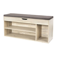 Contemporary Storage Bench, Light Oak Finished MDF With Padded Cushioned Seat
